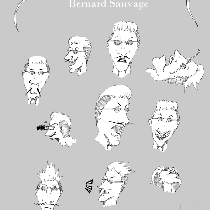 Bernard Sauvage - Character Design - Male Head - How to draw a face - Face Study - Expressions sheet - different expressions of a man wearing glasses - Drawing Reference - More studies, drawings and tutorials on www.sketchingowl.com