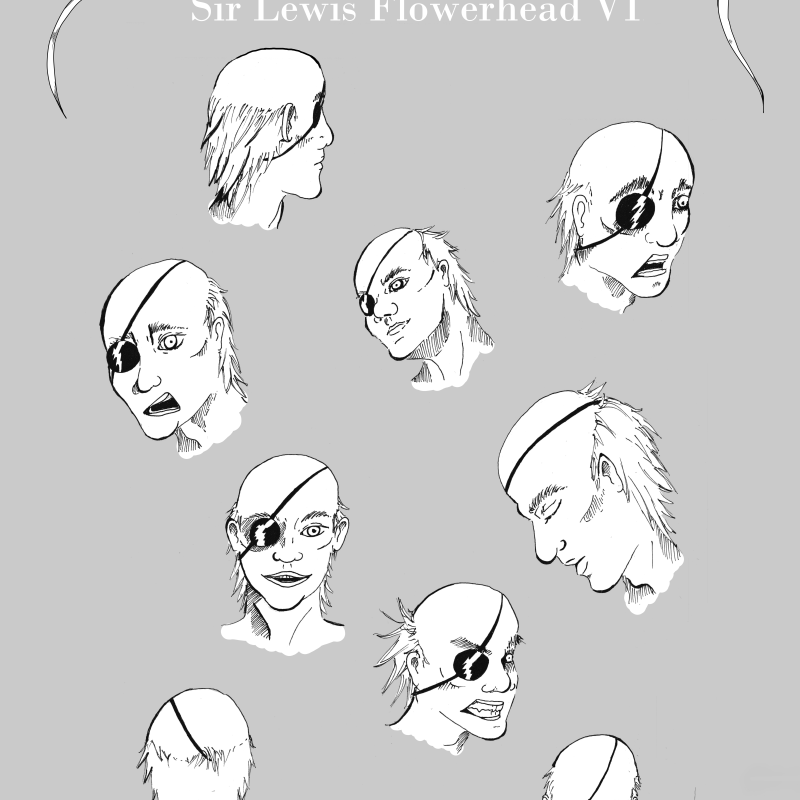Sir Lewis Flowerhead VI - Character Design - Male Head - How to draw a face - Face Study - Expressions sheet - different expressions of a man wearing an eyepatch - Drawing Reference - More studies, drawings and tutorials on www.sketchingowl.com