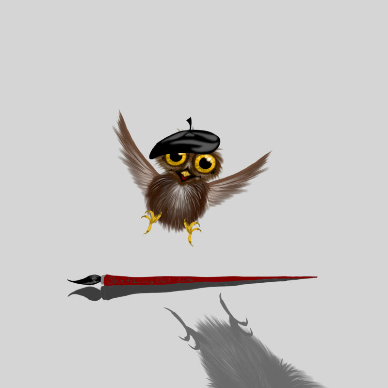 Sketching Owl - little owl with a beret has discovered a brush - More drawings and tutorials on www.sketchingowl.com